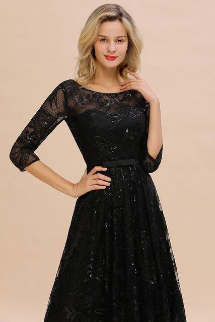 Elegant Black Lace A-line Mother Of The Bride Dresses Modest O-neck 3/4 Sleeves  Wedding Party Dresses Vestido De Madrinha 5
