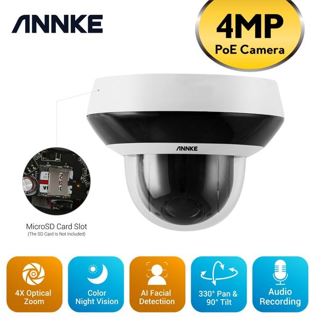 ANNKE – caméra de Surveillance PTZ IP POE 4MP Super HD, dispositif de sécurité intelligent, avec Zoom optique 4X, détection AI, enregistrement Audio 1