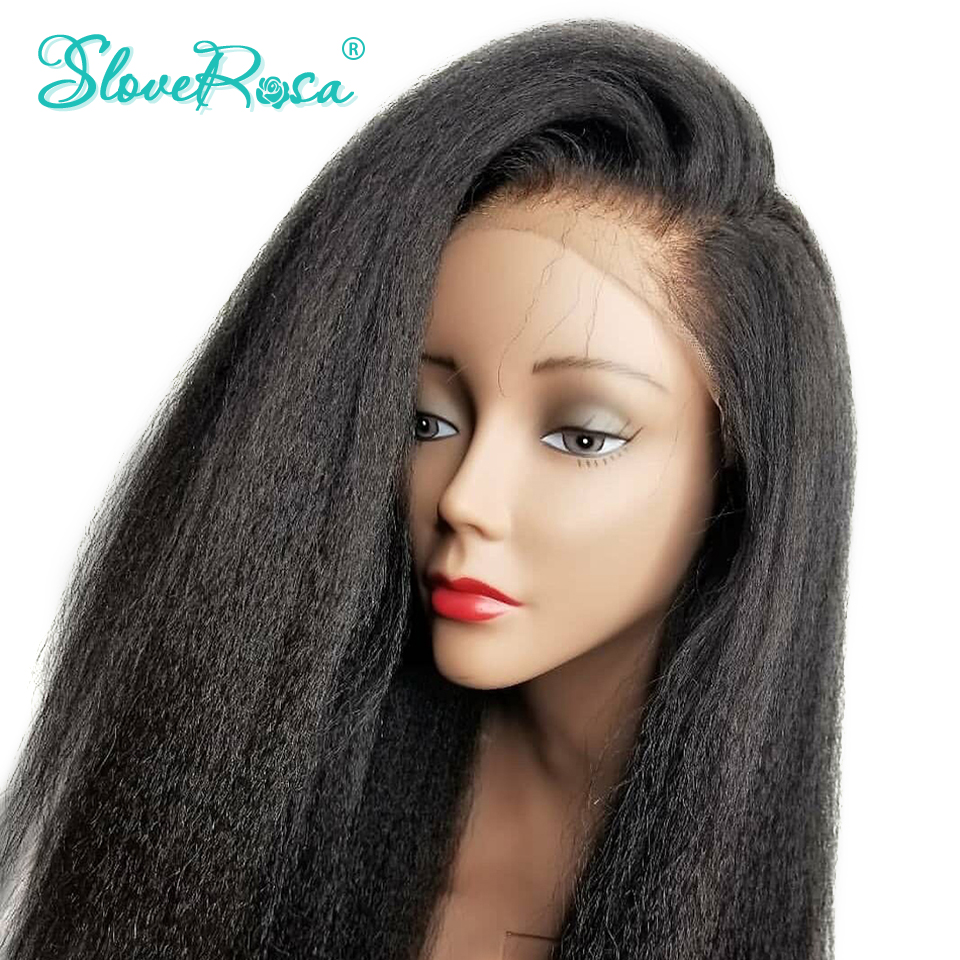 Kinky Straight Wig Remy Peruvian Lace Front Human Hair Wigs For Women Natural Black Pre Plucked