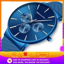 MEGALITH Luxury กันน้ำ Ultra Thin Date นาฬิกาควอตซ์ชายกีฬานาฬิกา Erkek Kol saati