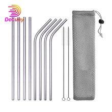 DEOUNY – Tubes métalliques réutilisables avec sac et brosse de nettoyage, pailles à Cocktail droites et coudées en acier inoxydable 304, 11 pièces, accessoires de Bar