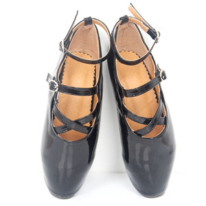 "Image 3 - ยี่ห้อใหม่ 7 ""ส้นสูงเซ็กซี่แสดงสาวบัลเล่ต์ปั๊มSpike Stiletto Pointed Toe Strappyข้อเท้าสีดำสีแดงรองเท้า"