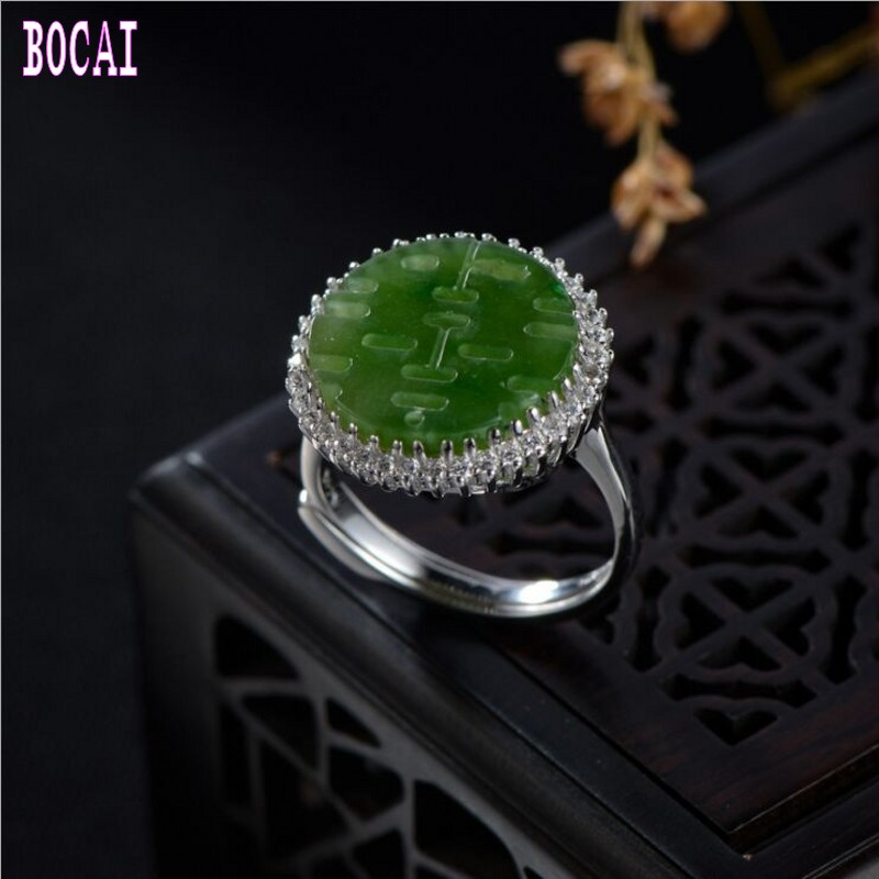 Real 925 sterling silver jewelry natural green stone text ring women's fashion silver ring image