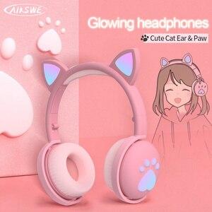 AIKSWE Bluetooth Headphones glowing cute LED Cat Ear Paw Girls Gift Kids Headset Wireless HIFI Stereo Bass 3.5mm Plug With Mic