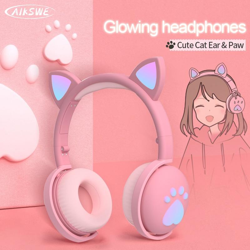 AIKSWE auriculares con Bluetooth y luz LED brillante para Oreja de Gato, auriculares inalámbricos con micrófono, pata de estéreo HIFI, 3,5mm Auriculares y audífonos  - AliExpress