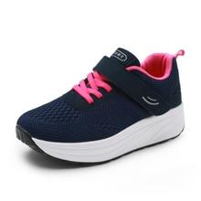 Women Toning Shoes Mesh Breathable Ladies Walking Height Increasing Wedge Heel Sneakers Women Thick Sole Trainers