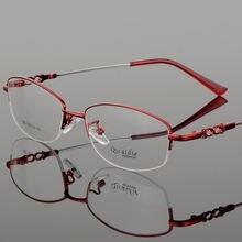 Очки в металлической оправе женские прямоугольные Полуободковые
