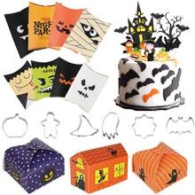 Feliz Halloween decoración de bolsas de papel Kraft tratar caja Pastel de Halloween Topper galletas cortadores de calabaza fantasma de trata