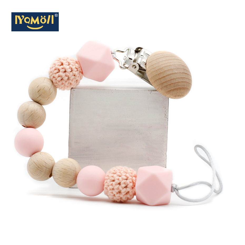Wooden Beads Silicone Bead Baby Pacifier Chain  Tetine  Clips Wood Attache Sucette Crochet Dummy Mam Pacifiers Pacifier holder