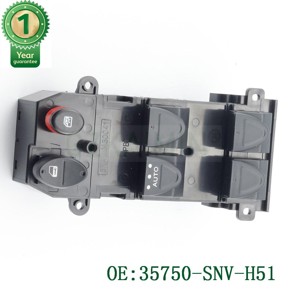 Oto araba güç pencere ana kumanda anahtarı 35750-SNV-H51 Honda Civic için 35750SNVH51