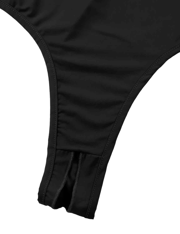 Vrouwen Badpak Ultra Dunne Schouderbandjes Diepe U Hals Backless Crotchless Hoge Cut Thong Turnpakje Bodysuit