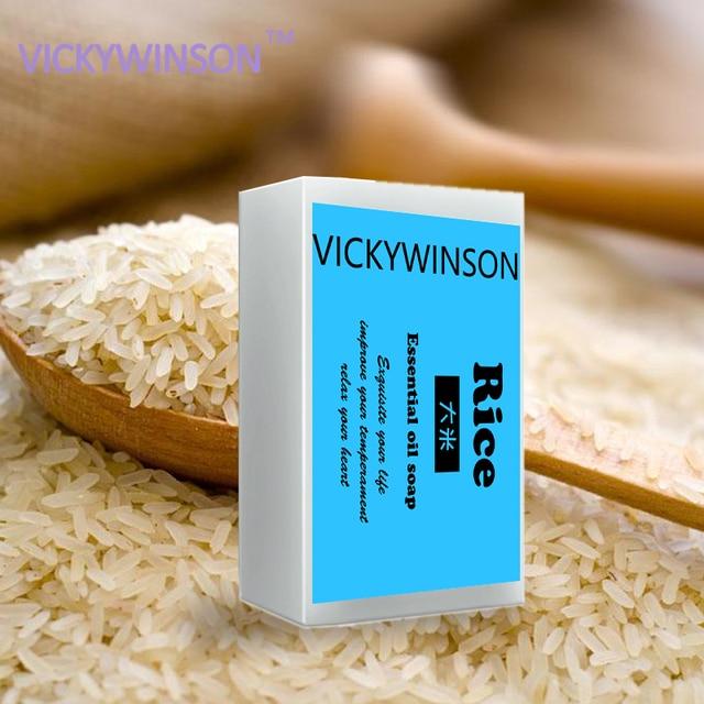 Rice Soap Handmade Collagen Vitamin Skin Whitening Bathing Tool Rice Milk Soap Bleaching Agents Acne 50g