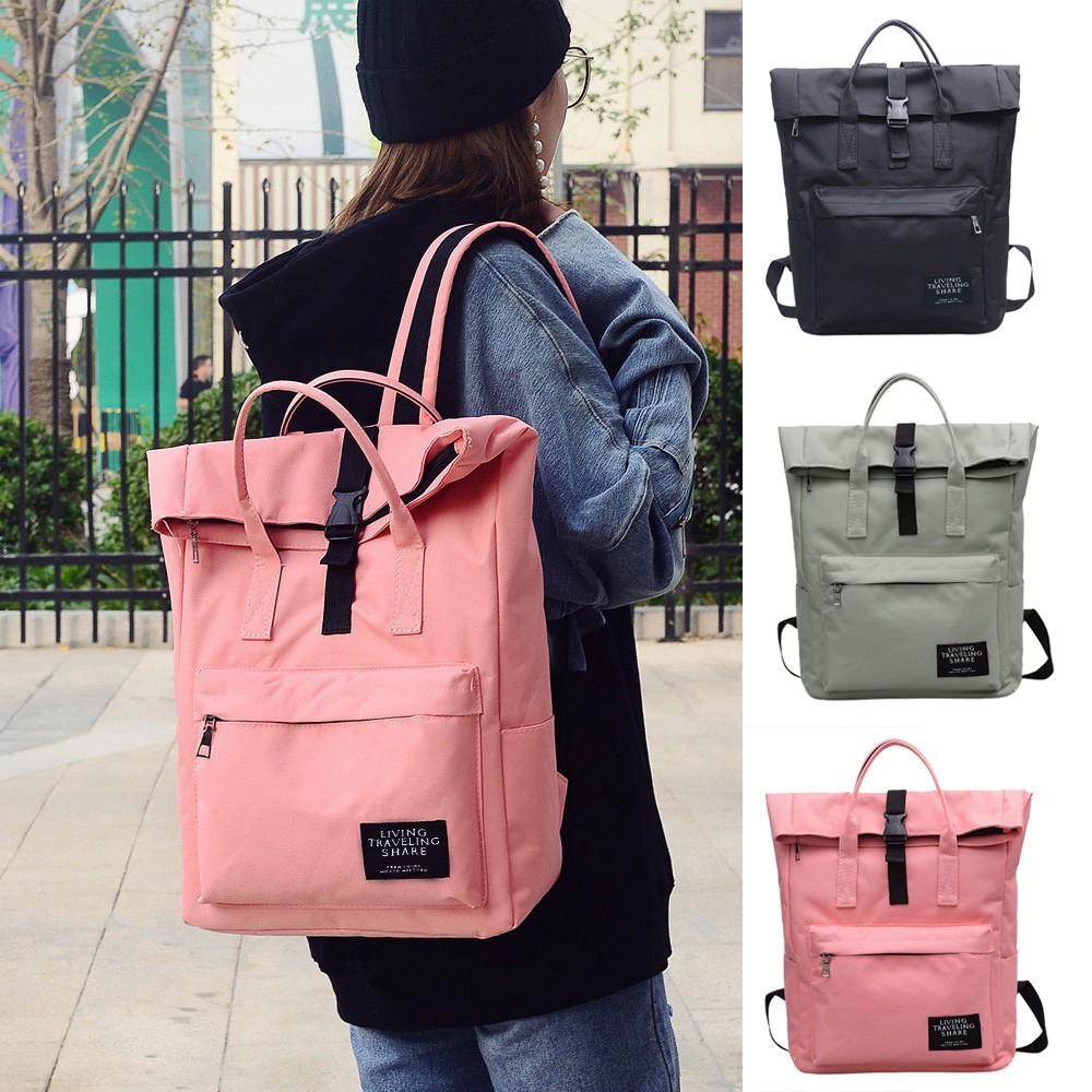 Fashion Women's Pure Color Backpack Nylon Waterproof School Bag Tote Bag Backpack Large Capacity Travel Backpack рюкзак