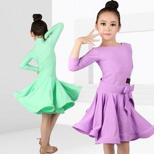 Image 3 - Girls Ballroom Dance Dresses Junior Latin Dress Knee Length Flamenco Dance Costumes