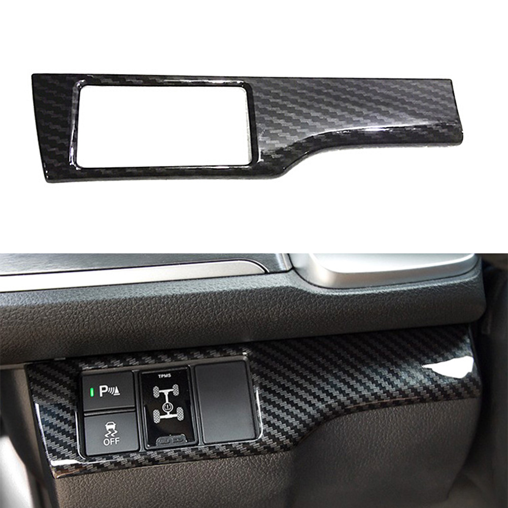 Cubierta de botón de interruptor para Honda Civic, fibra de carbono, ABS, 10X2016, 2017, 2018, 2019, 2020