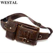 WESTAL Messenger Bag Men Leather Sling Bags for Phone Men's Shoulder Bags Men's Genuine Leather Bags Travel Chest Pack Male 9080(China)