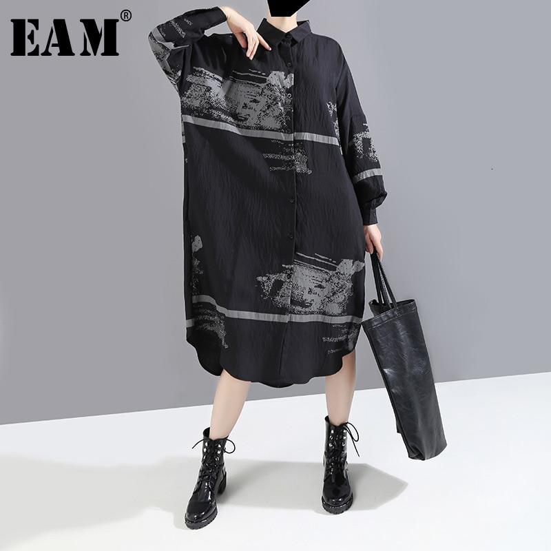 [EAM] Women Black Pattern Print Split Big Size Shirt Dress New Lapel Long Sleeve Loose Fit Fashion Tide Early Spring 2020 1M912
