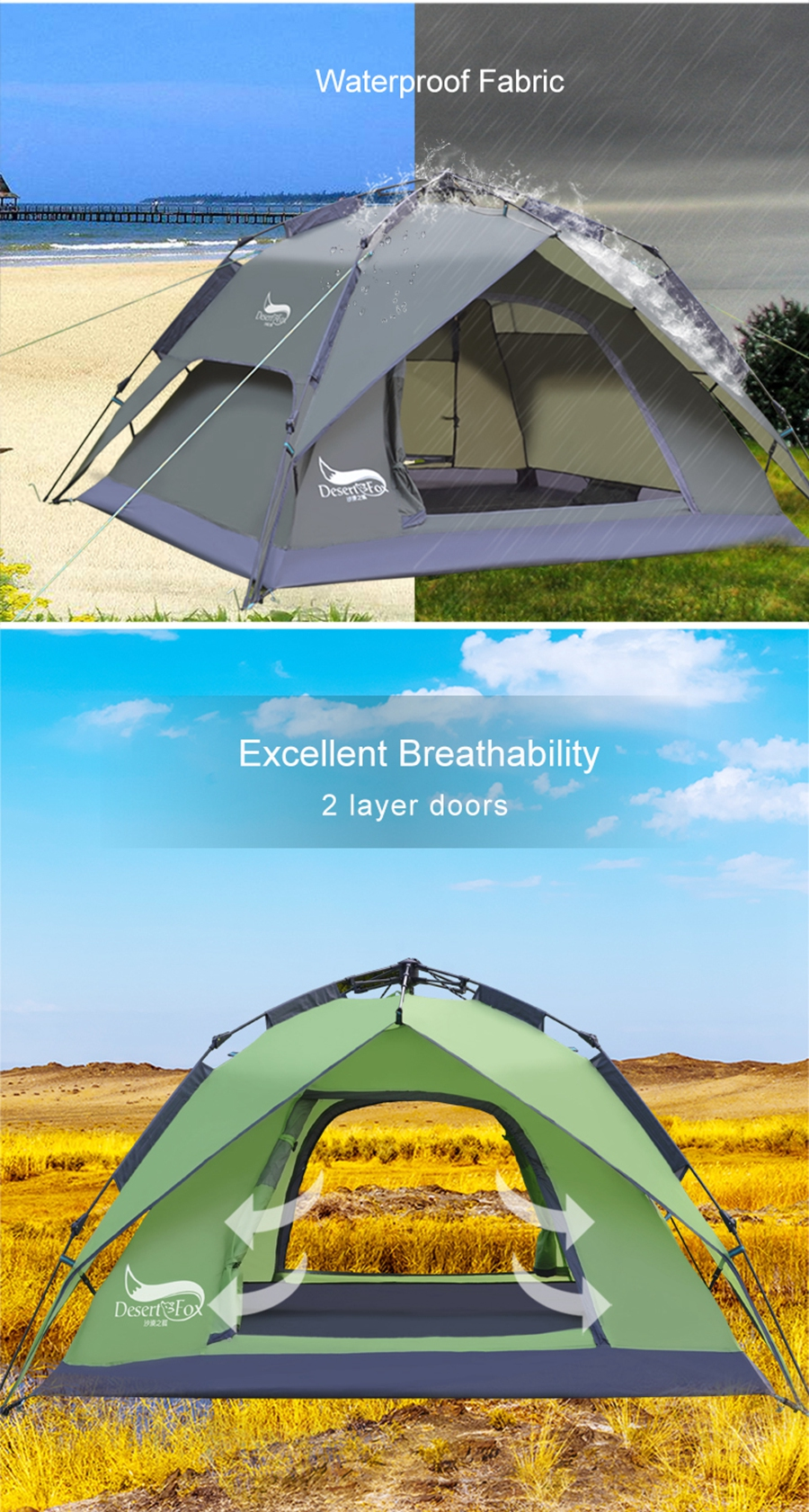Desert&Fox Automatic Tent 3-4 Person Camping Tent,Easy Instant Setup Protable Backpacking for Sun Shelter,Travelling,Hiking