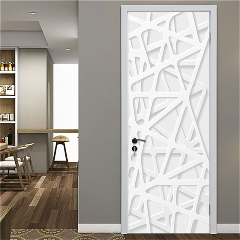 Door Sticker White Self-adhesive PVC Waterproof Wallpaper For Doors Living Room Bedroom Home Decor Murals Removable Poster Decal