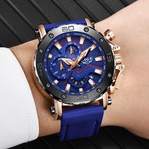 Image 5 - LUIK Nieuwe Heren Horloges Topmerk Luxe Grote Wijzerplaat Militaire Quartz Horloge Blauw Lederen Waterdichte Sport Chronograaf Horloge Voor Mannen