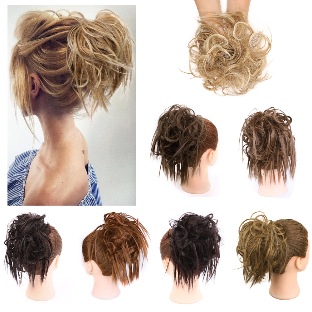 Messy Scrunchie Chignon Hair Bun Straight Elastic Band Updo Hairpiece Synthetic Curly Chignon Hair Extension For Women