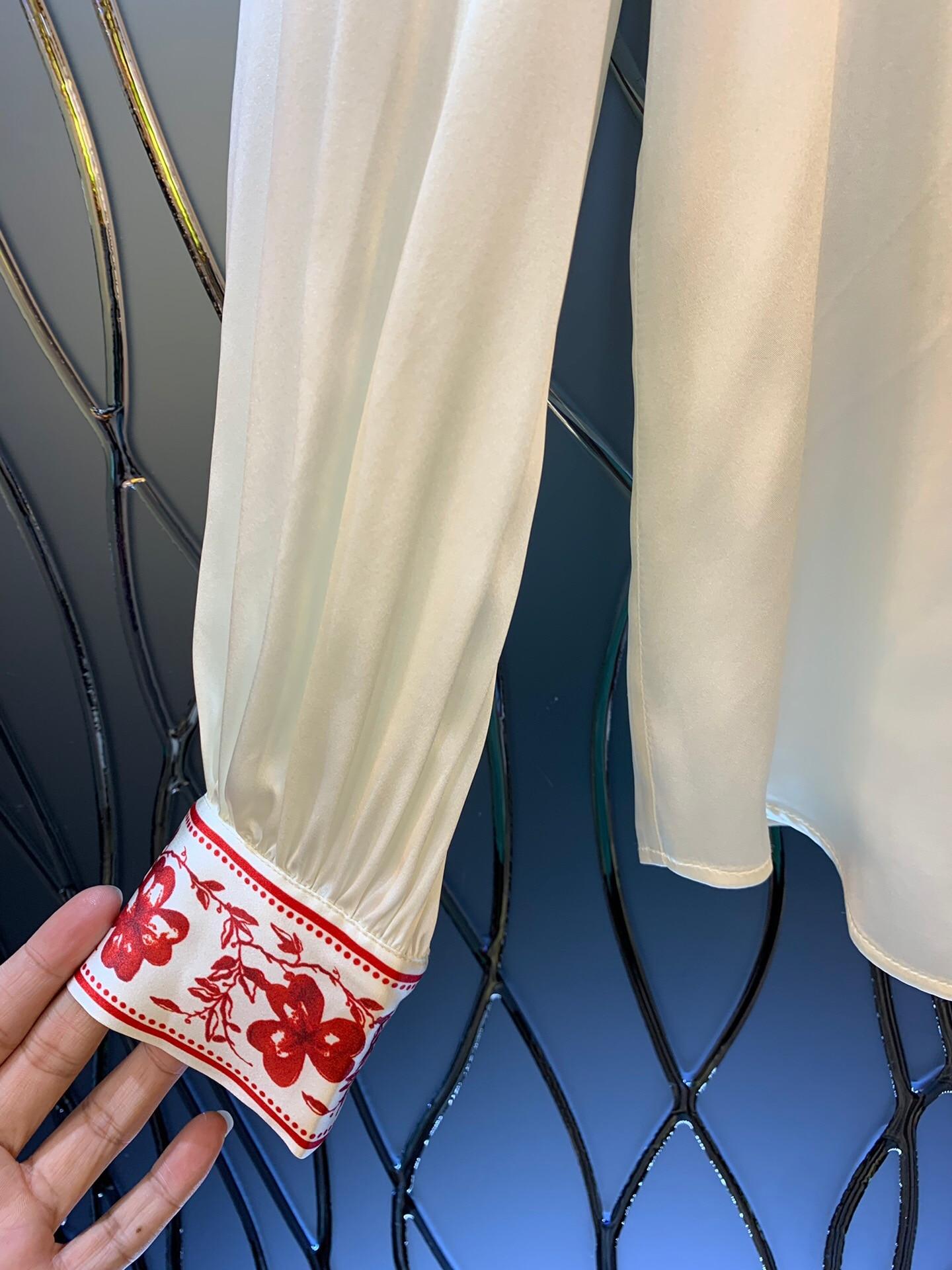 2019 nueva camisa de seda de manga larga con cuello de lazo y estampado Vintage elegante envío gratis a todo el mundo - 5