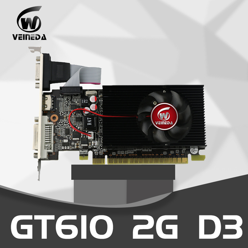 VEINEDA Graphics Card GT610 2GB 64Bit DDR3PC Desktop Graphics Cards PCI Express 2.0 computer Graphics Cards for <font><b>nVIDIA</b></font> Geforce image