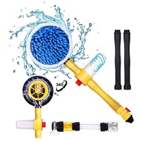 Car Wash machine Long Handle Brush Rotating Retractable Water Spray Brush Foam Flow Auto Round Washer Tire Clean Car Accessories|Cleaning Brushes| |  -