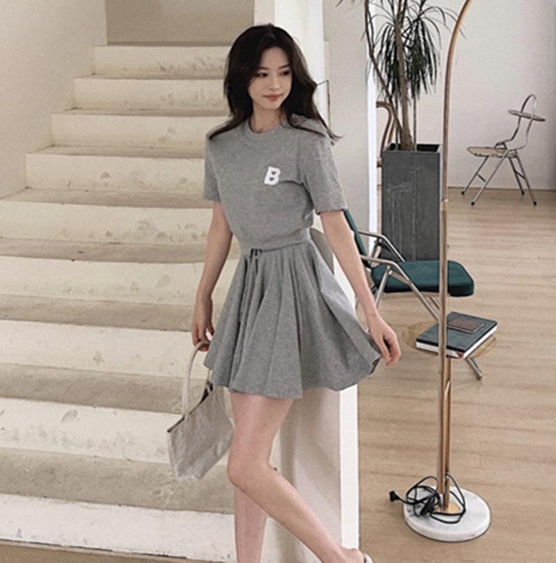 New Summer Fashion Casual Two Piece Set Short Sleeve Cotton Top High Waist Elastic Wide Leg Shorts