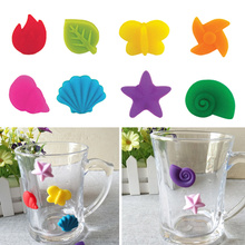 8pcs Silicone Glass Marker Creative Colorful Cartoon Sticker Sucker Mark Glass Identification Perfect for Parties