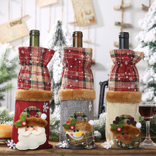 Christmas Decorations Snow Santa Wine Bottle Cover New year Xmas Decor Red Merry Home