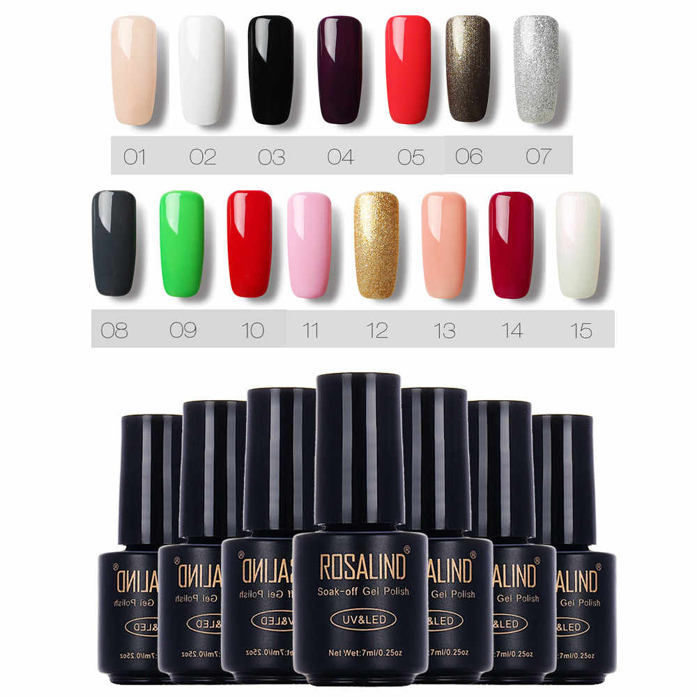 ROSALIND Nail Gel Polish 7ml Hybrid Vernis Voor Nail Art Semi Permanente UV Gel nagellak Set Voor Manicure base Top Coat Primer