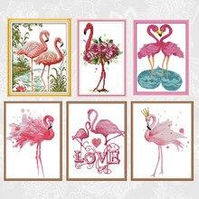 Toile imprimée, séries de peintures flamants roses, point de croix, kits de broderie, fait à la main, pour couture, fils en coton DMC, artisanat