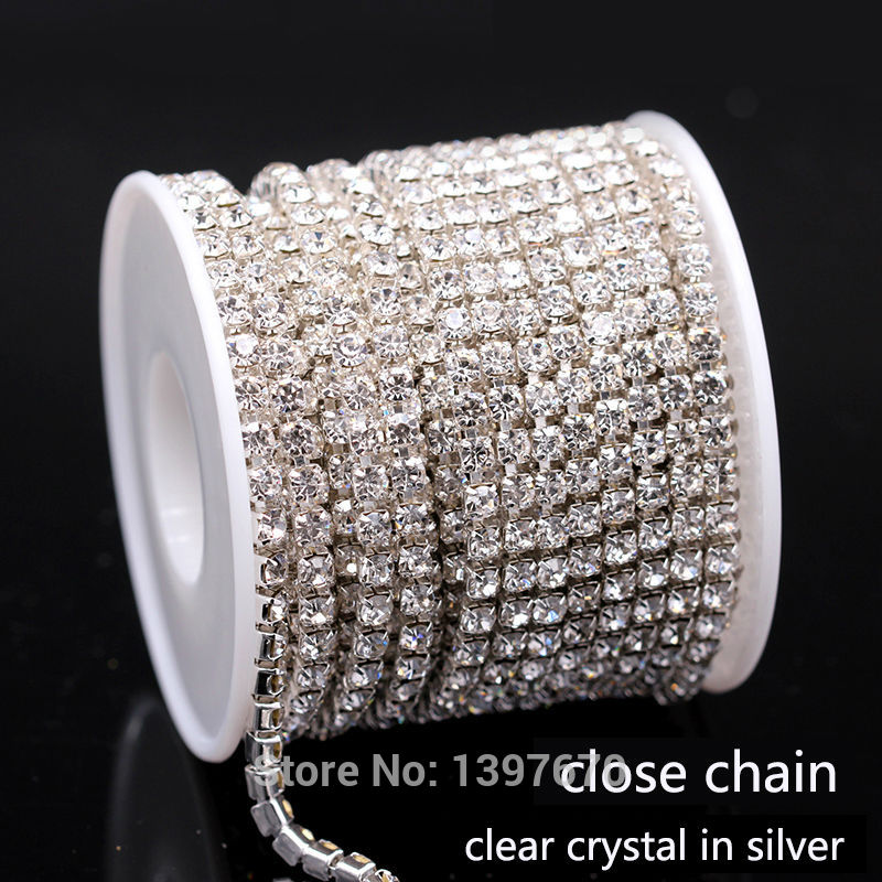 10 Yrads/lot ss6-ss18 dichten Kristall strass kette nähe kristall in silber Nähen auf Tasse kette für kleidung ornament zubehör
