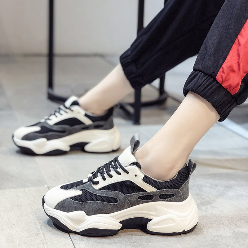 LZJ Fashion Lady Casual White Shoes Women Sneaker Black Leisure Thick Soled Shoes Flats Cross-tied Lace-Up White Female Student