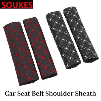 2pcs PU Leather Car Seat Belt Shoulder Pads Cover For BMW E92 E53 X3 f25 E34 Audi A6 C6 A5 B7 Q5 C5 Abarth Ford Fiesta Mondeo image