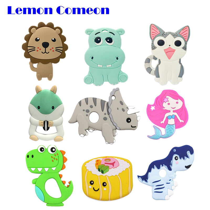 Lemon Comeon Silicone Teether For Teeth Lion Cat Animal Baby Teether Rodent BPA Free Dinosaur Pendant Necklace Chewing Toys