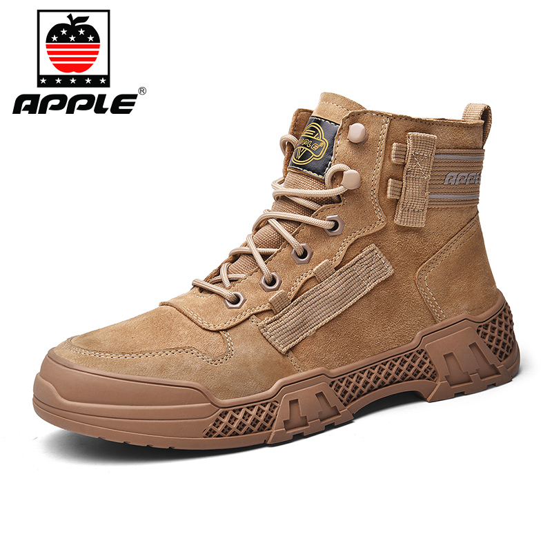 Купить мужские кожаные ботинки apple бренда новые модные высокие для
