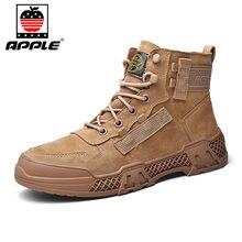 Мужские кожаные ботинки apple бренда новые модные высокие для