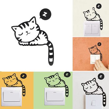 1pc Funny Cute Sleeping Cat Switch Sticker Home Decoration Bedroom Living Room Parlor DIY Decal Removable Mural Art Wall Decor image