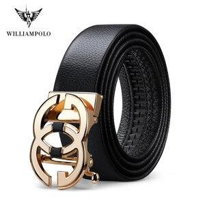 Image 5 - WilliamPolo ceinture en cuir véritable pour homme, marque de luxe, ceinture de qualité haut de marque, sangle en métal, boucle automatique