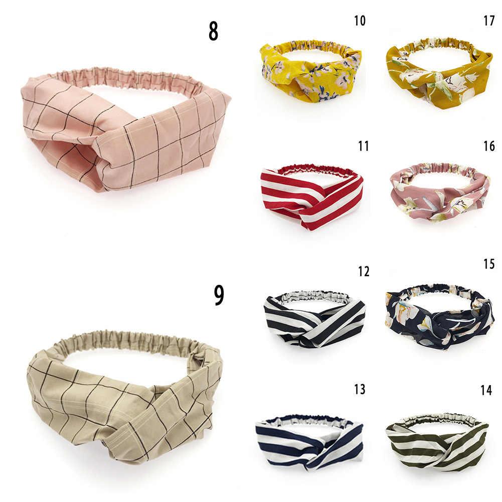 Rétro femmes élastique rayure vague bandeau imprimé Floral noeud large cheveux accessoires bandeau chapeaux filles bain maquillage bandeau