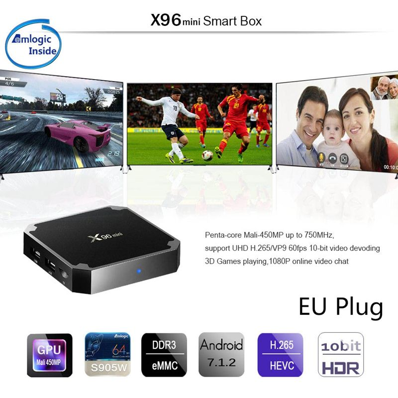 X96 Mini 4K TV Box Android 7.1.2 Internet Media Player 2,4 GHz WiFi 16G EU stecker