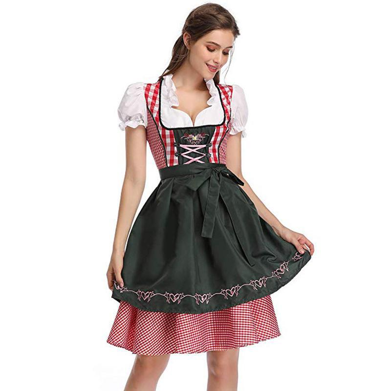 Plaid Dirndl Dress German Bavarian Oktoberfest Beer Wench Costume 7479