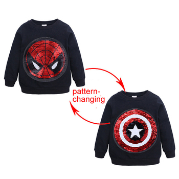 SAILEROAD Spiderman Face-changing Captain America Boys Sweatshirts for Kids Long Sleeve Hoodies Shirt 2019 Children's Sweatshirt