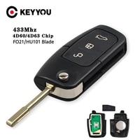 Keyyou車リモートキーdiyフォードフュージョンフォーカスモンデオフィエスタ銀河HU101 FO21ブレイド車フリップキー4D60 4D63チップ80/40ビット