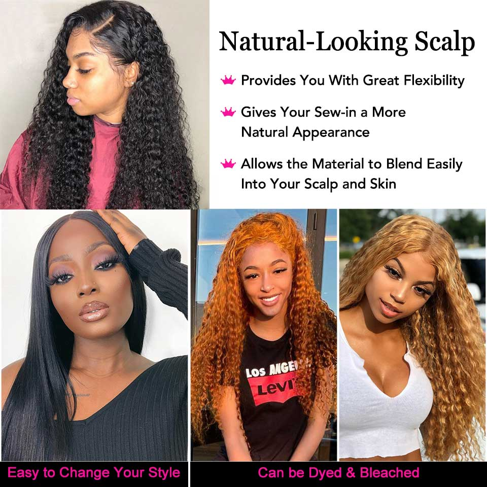 Deep Wave Closure Wig  Lace Frontal Wigs 150 Lace Front Wig Pre Plucked Bleached Knots Wigs  4x4 Frontal Lace Wig 4