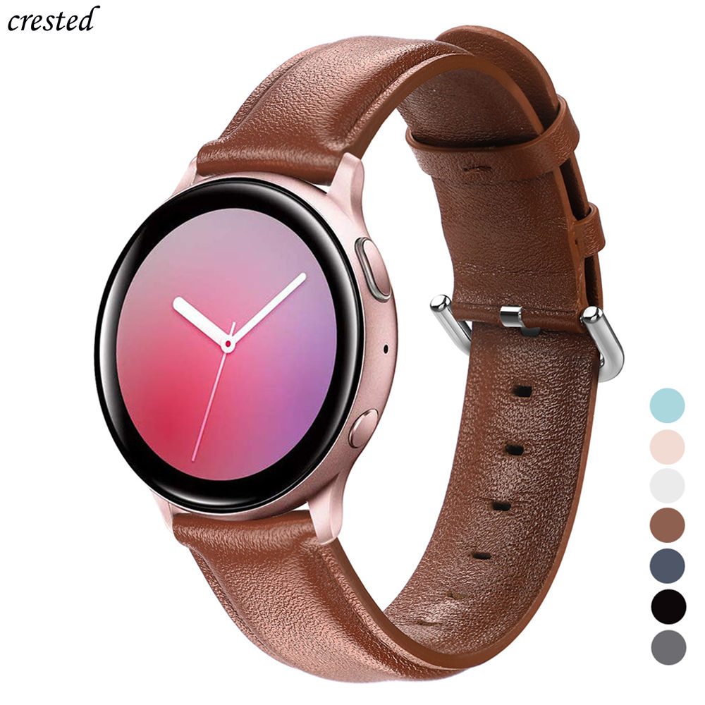 Leather Band For Samsung Galaxy Watch Active 2 Strap 44mm 40mm Gear S2 Huawei GT 2 42mm 20mm Watch Strap Bracelet Watchband 20