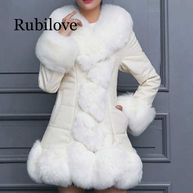 Rubilove Thick Winter Coat Womens Leather Jacket Female Faux Fox Fur Collar PU Jackets 4XL