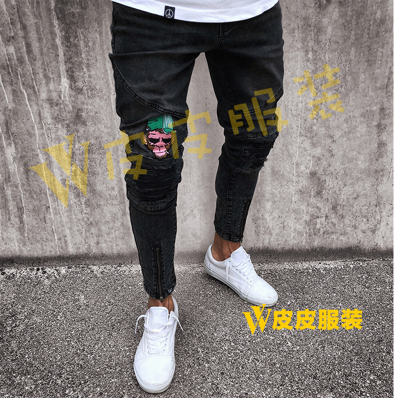 Europe And America Black Jeans Men 2018 New Style Zipper Locomotive Men's Skinny Pants